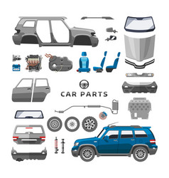 Car service parts flat auto mechanic repair of vector