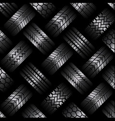 Cars tire tracks dark background vector