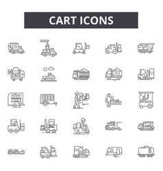 cart line icons signs set linear concept vector image