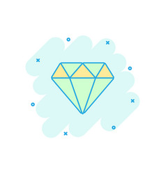 cartoon diamond jewel gem icon in comic style vector image