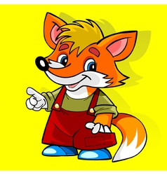 Cartoon fox in the red suit smiling and showing vector