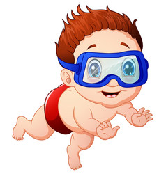Cartoon little boy diving vector