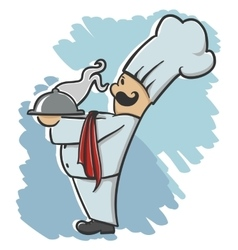 chef serving the dish vector image