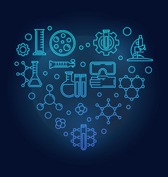 chemistry icons in heart shape blue line vector image