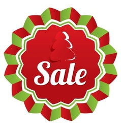 Christmas sale special offer label Paper tree vector image