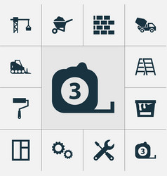 construction icons set collection of paint bucket vector image