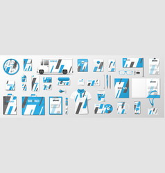 corporate identity template with classic blue vector image