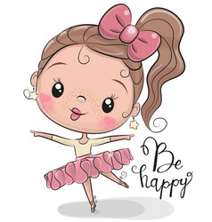 Cute ballerina on a white background vector
