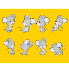 Cute mouse actions vector