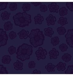 Dark violet seamless flower pattern vector image