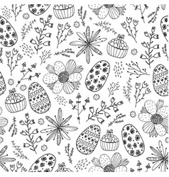 Easter seamless doodle pattern hand drawn vector