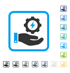 electricity gear service hand framed icon vector image