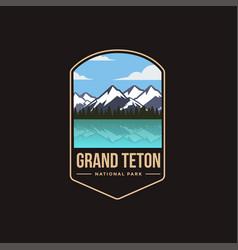 emblem patch logo grand teton national park vector image