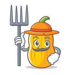 Farmer butternut squash character cartoon vector