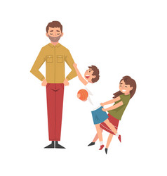 father with mischievous brother and sister happy vector image