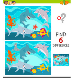 Find differences game with sea animals vector