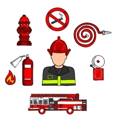 Fireman in uniform with firefighting equipments vector