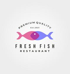 fresh fish restaurant logo symbol design vector image