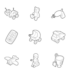 Fun games for kids icons set outline style vector