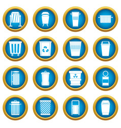 Garbage container icons blue circle set vector