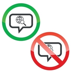 Global search message permission signs vector