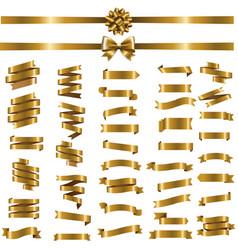 golden ribbon set white background vector image