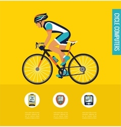 gps computers and apps for bike or cycling vector image