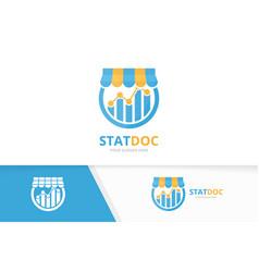 graph and shop logo combination diagram vector image