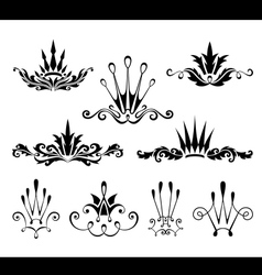 Graphical decorative elements with crowns vector image