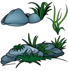 Grass And Rocks vector image