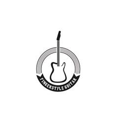 Guitar logo design - simple minimalist design vector