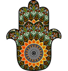 Hamsa with round ethnic pattern vector