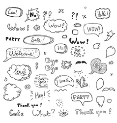 hand drawn set speech bubbles with dialog words vector image