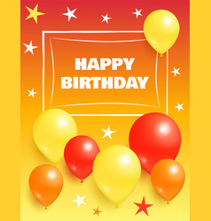 Happy birthday background invitation card balloons vector