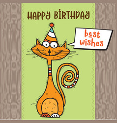 Happy birthday card with funny doodle cat vector