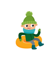 Happy teenage in winter clothes on snow tubing vector