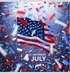 Happy usa independence day card with confetti vector