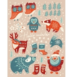 Hello winter card Christmas set with cartoon vector image