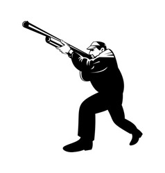 hunter aiming shotgun rifle vector image