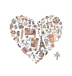 I love france icons collection sketch for your vector