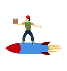 isolated delivery boy vector image