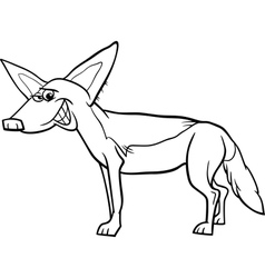 Jackal animal cartoon coloring page vector