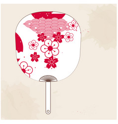 japanese fan red white sakura image vector image