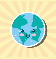Kawaii planet earth world cartoon weather vector