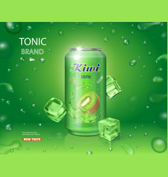 Kiwi juice in an aluminium can kiwifruit tonic vector