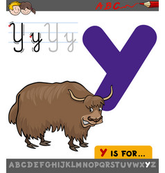 letter y with cartoon yak vector image