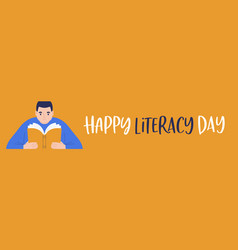 Literacy day banner young boy reading open book vector