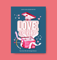 Love poster design with cupcake box watercolor vector