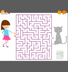 maze game with cartoon girl and her cat vector image