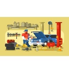 Mechanic repairs car in garage vector